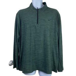 Nike Dri Fit 1/4 Zip Pullover Green Black XL